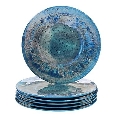 Certified International Radiance Teal Melamine 10.5  Dinner Plate, Set of 6