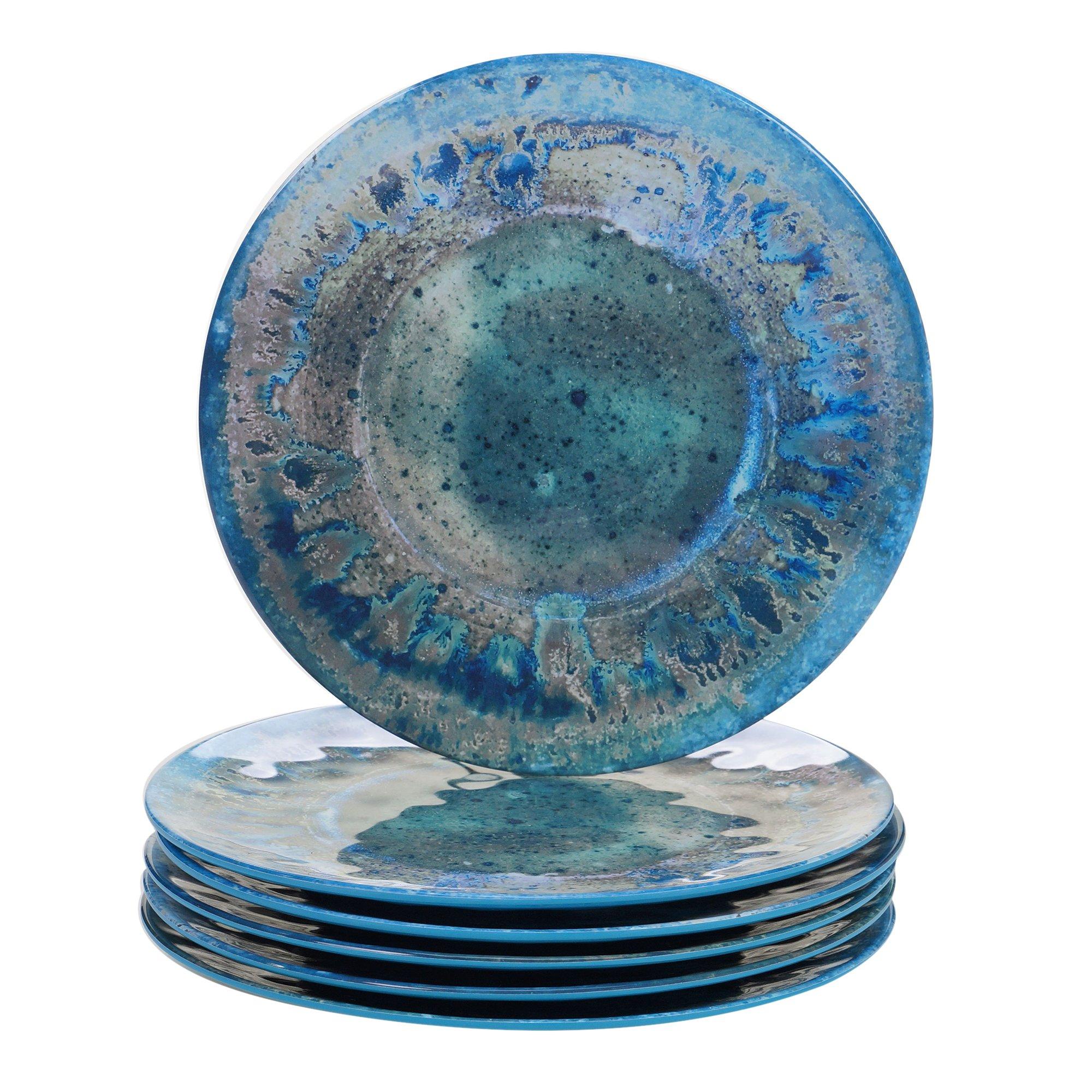 Certified International Radiance Teal Melamine 10.5'' Dinner Plate, Set of 6