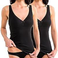 HERMKO 17580 Kit de 2 Camiseta de Mujer con Sujetador y Bustier Integrado