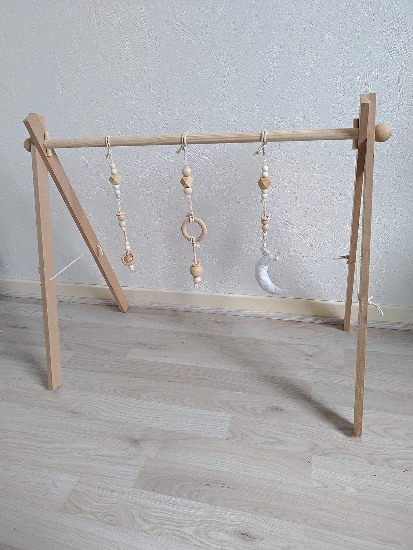 Portique d éveil arche d activité Montessori en bois de hêtre modèle naturel 741a9187e75