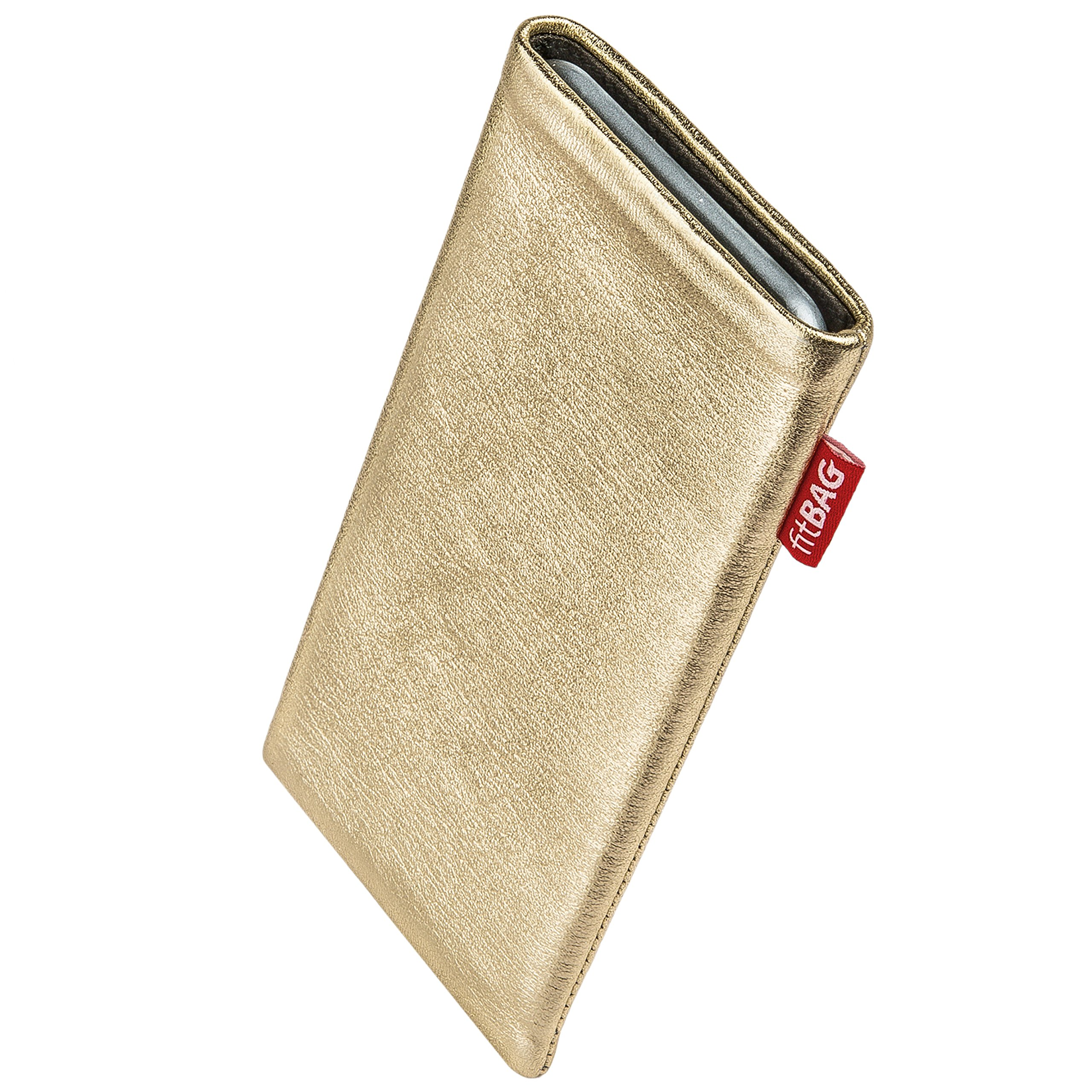 fitBAG Groove Gold custom tailored sleeve for Thomson Connect TH701. Fine nappa foil leather pouch with integrated microfibre lining for display cleaning