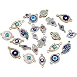30pcs Mix Alloy Colored Enamel Rhinestone Diamond Evil Eye Charms Jewelry Connectors for DIY Bracelet Necklace Jewerly