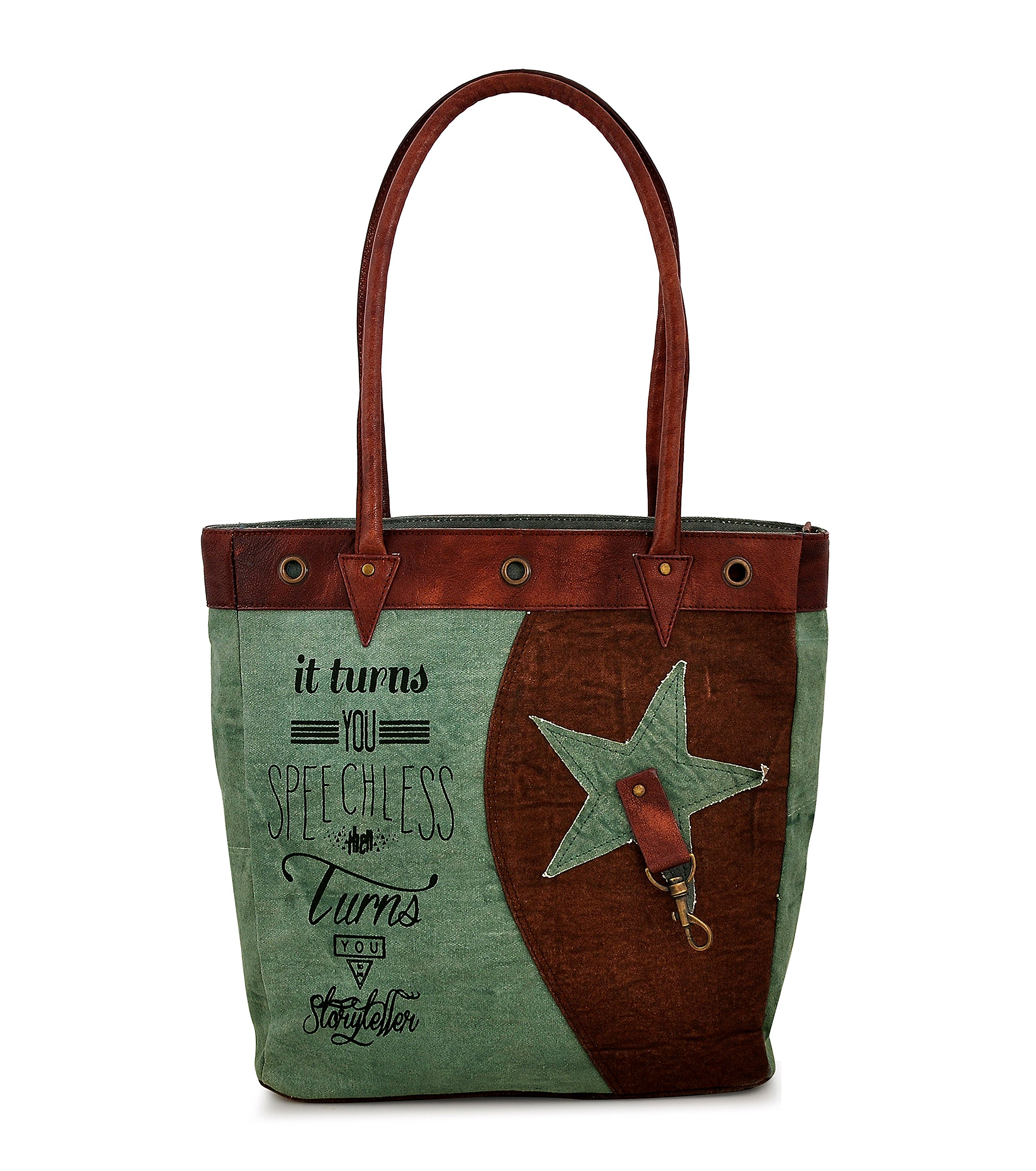 Tote bag for Women, Unique Design, Made of Canvas and Leather, Eco friendly bag, Handbags for Women by Daphne (Speechless)