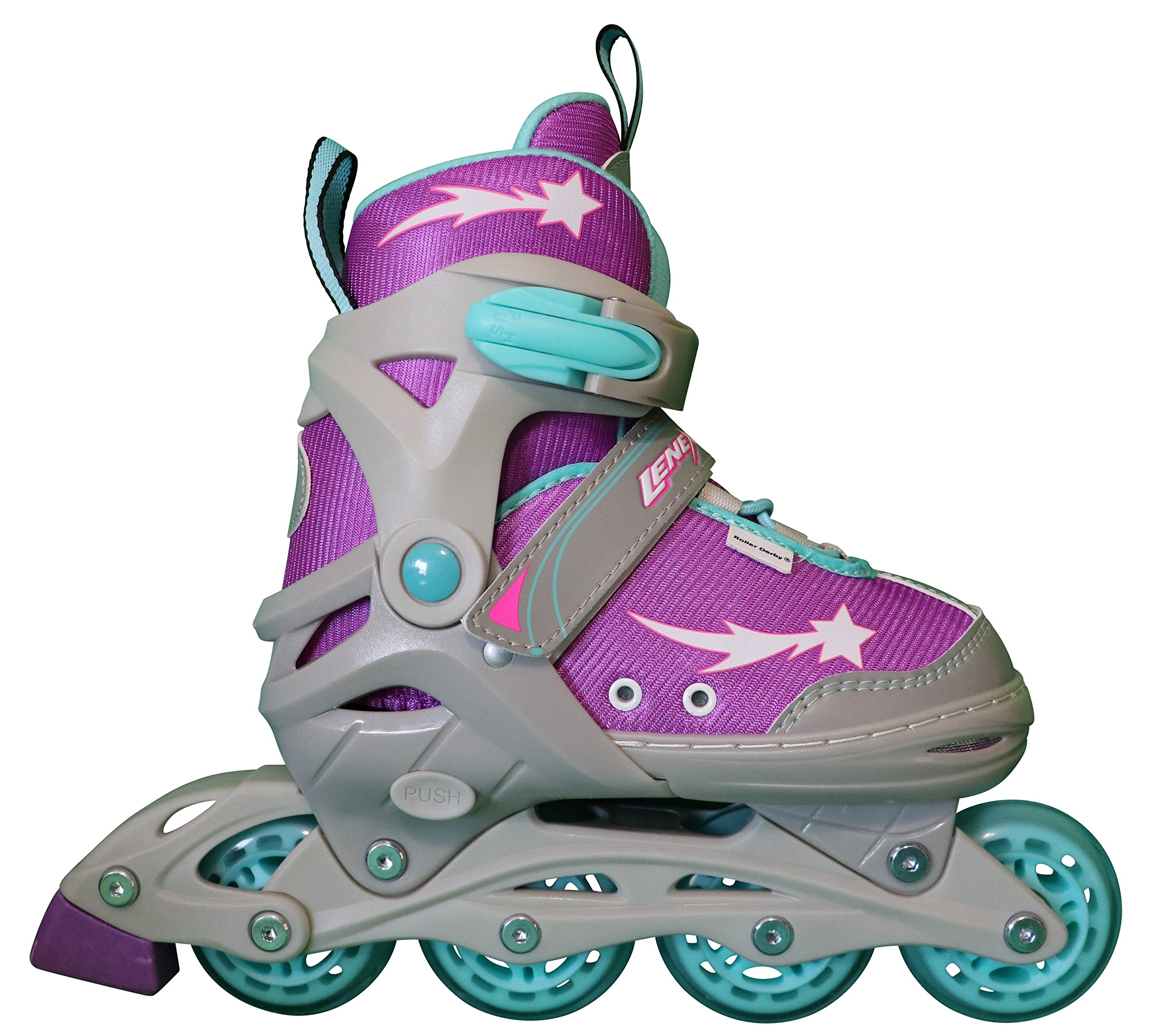 Lenexa Inline Skates for Girls with Adjustable Sizing Athena Kids in-line roller skate blades | Comfortable fit | Safety non-slip wheels | Made for Fun (Purple/Grey/Blue, Small)