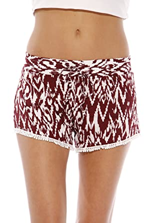 e664efb9db7 Just Love High Waisted Women Shorts - Summer Pom Pom Beach Shorts ,Burgundy/White