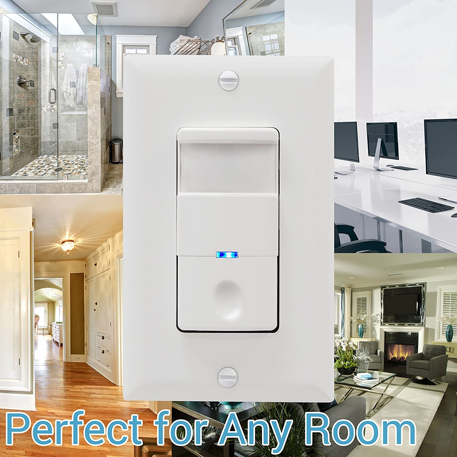 Single Pole White 4A TOPGREENER Motion Sensor Switch No Neutral Required TDOS5-J-W