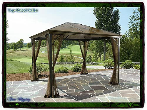 10 X 12 Hardtop Gazebo Metal Steel Roof Outdoor Patio Aluminum Canopy Party Tent W Poles Pergola Arbor Arch Deck Shade Grand Resort Sun Grill New Guarantee
