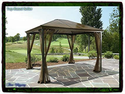 10 x 12 hardtop gazebo metal steel roof outdoor patio aluminum canopy party tent w poles - Metal Roof Gazebo