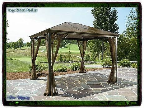 10 X 12 Hardtop Gazebo Metal Steel Roof Outdoor Patio Aluminum Canopy Party Tent W Poles