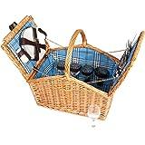 4 Person Wicker Picnic Basket Hamper Blue