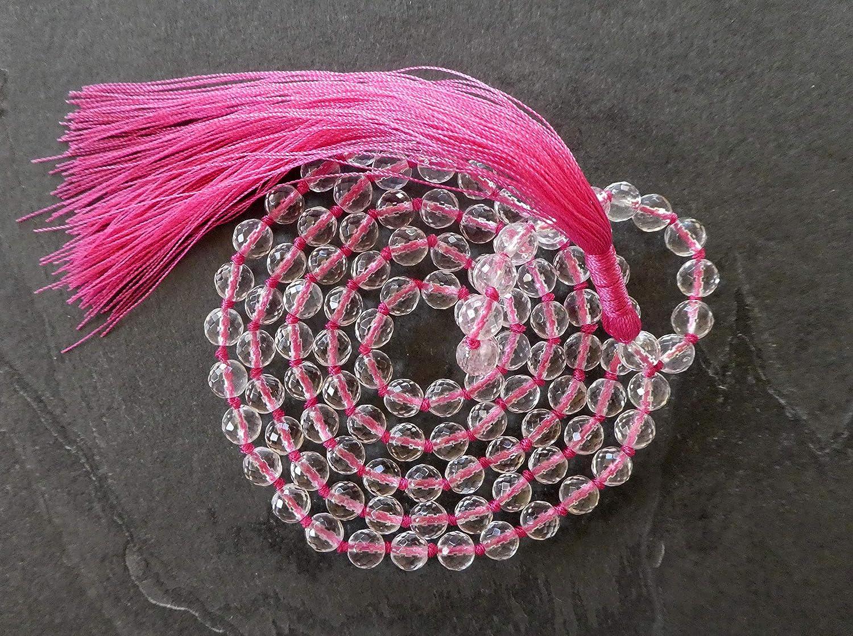 Necklace Prayer Beads Bracelet Quartz Diamond-cut 108+1 Beads Mala Meditation Beads 7-mm Beads with Pink Tassel 0169