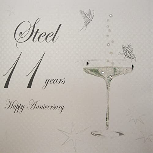On your 11th wedding anniversary card 11 years steel anniversary white cotton cards bd111 coupe glass happy anniversary steel 11 years handmade anniversary card m4hsunfo