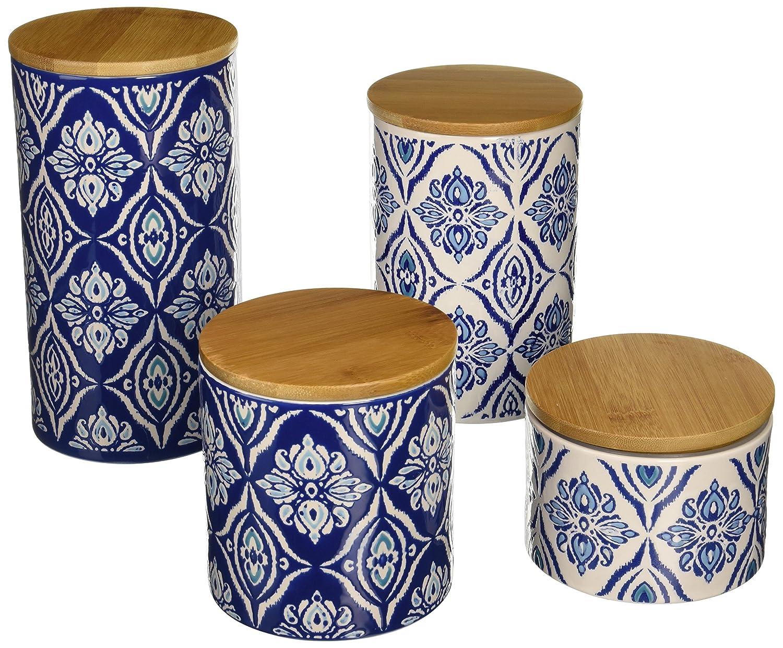 amazon com american atelier pirouette 4 piece canister set blue