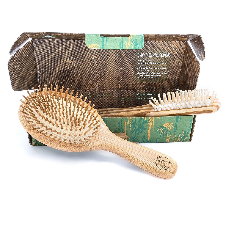 Brosse à Cheveux en Bambou Plate Dans une Boîte Respectueuse de L'environnement, Brosse Démêlante Naturelle Pour Tous Types de Cheveux, Les Poils en Bambou Massent le Cuir Chevelu, Commandez la Vôtre ! Marbeian