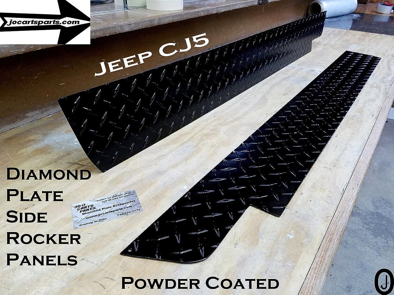 J /& O Carts Parts Jeep CJ5 Powder Coated Aluminum Diamond Plate Side Rockers 5 1//4 Wide