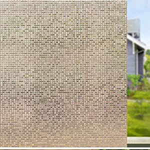 Viseeko Window Film Rainbow Static Window Clings Non-Adhesive 3D Window Decals Window Stickers for Glass Door Home Office Kids Room Heat Control (Brown Mosaic Patterns, 17.5 x 78.7 inches)