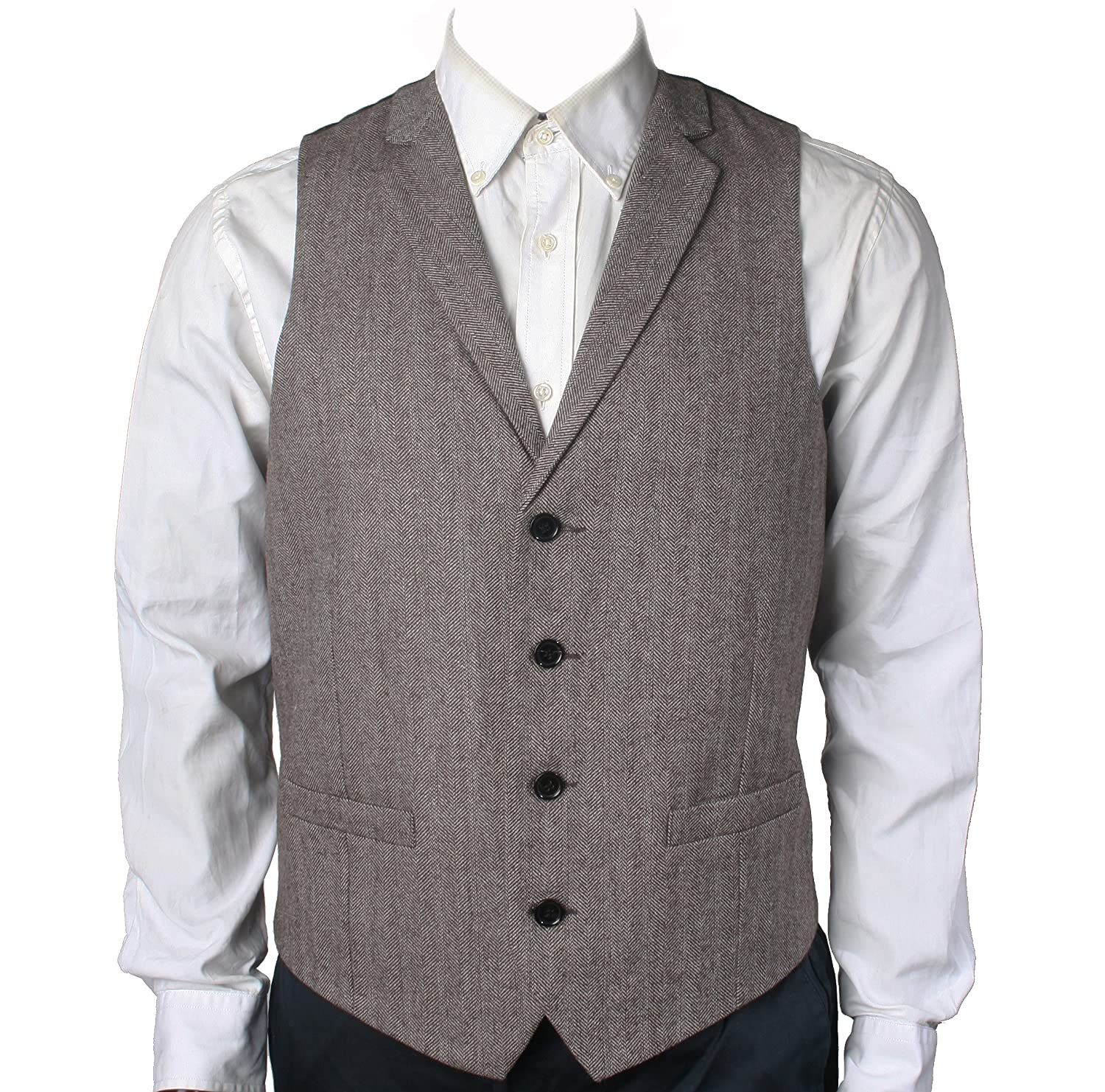 Men's Steampunk Clothing, Costumes, Fashion Herringbone/Tweed Tailored Collar Suit Vest $37.00 AT vintagedancer.com