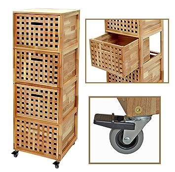 ts-ideen - Cajonera con ruedas para baño (4 cajones, madera de nogal): Amazon.es: Hogar