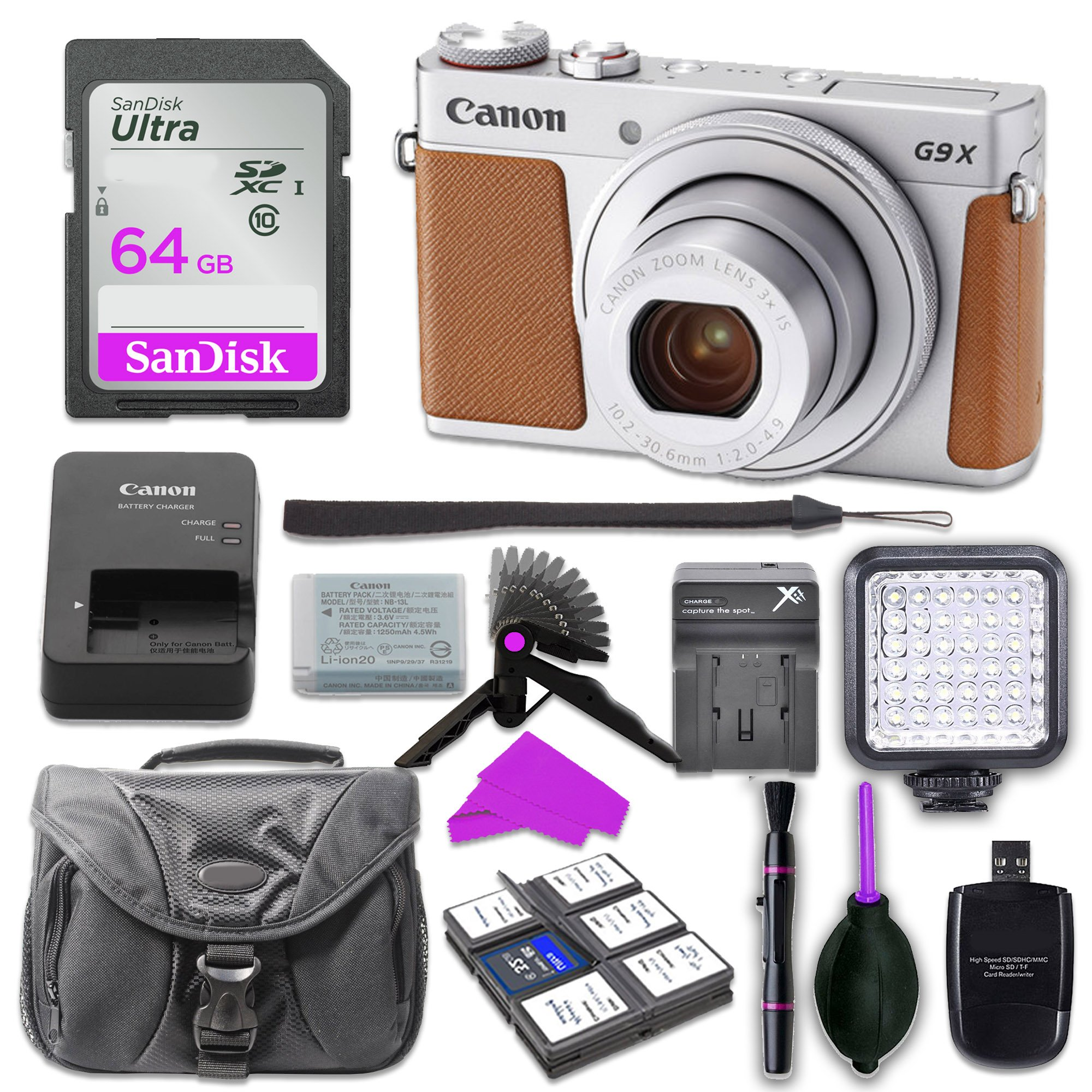 Canon PowerShot G9 X Mark II Digital Camera (Silver) with Built-in Wi-Fi & Bluetooth w/ 3 inch LCD with 64GB SD Memory Card + Mini Stable Tripod and Grip + LED Video Light Accessory Bundle