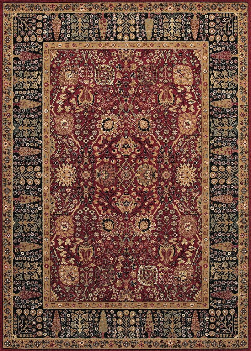 Couristan 0621 2596 Royal Kashimar Cypress Garden Black-Deep Maple 7-Feet 10-Inch Octagon Rug