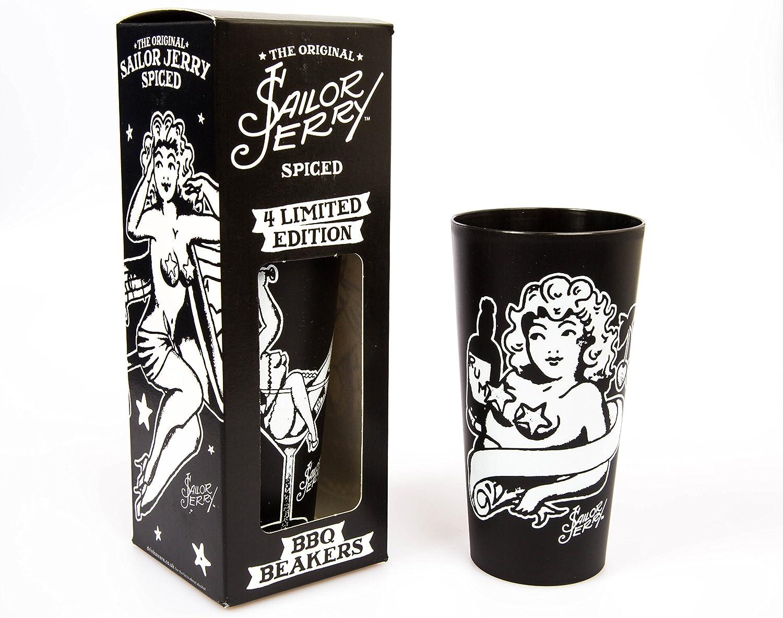 4 Edición limitada Sailor Jerry Ron con barbacoa de vasos de tatuaje en caja regalo con diseños (40 centilitros)