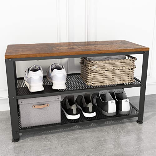 JOISCOPE Shoe Bench, 2-Tier Industrial Shoe Storage Rack with Seat for Small Spaces, Entryway, Foyer, Hallway Vintage Oak Finish