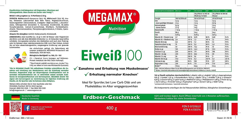 MEGAMAX - Eiweiss - Proteínas de suero de leche y proteínas lácteas - Crecimiento muscular y dieta - Valor biológico aprox. 100 - Fresa - 400 g: Amazon.es: Deportes y aire libre