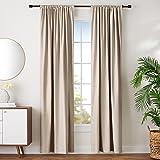 "Amazon Basics Room Darkening Blackout Window Curtains with Tie Backs Set - 42"" x 96"", Taupe"