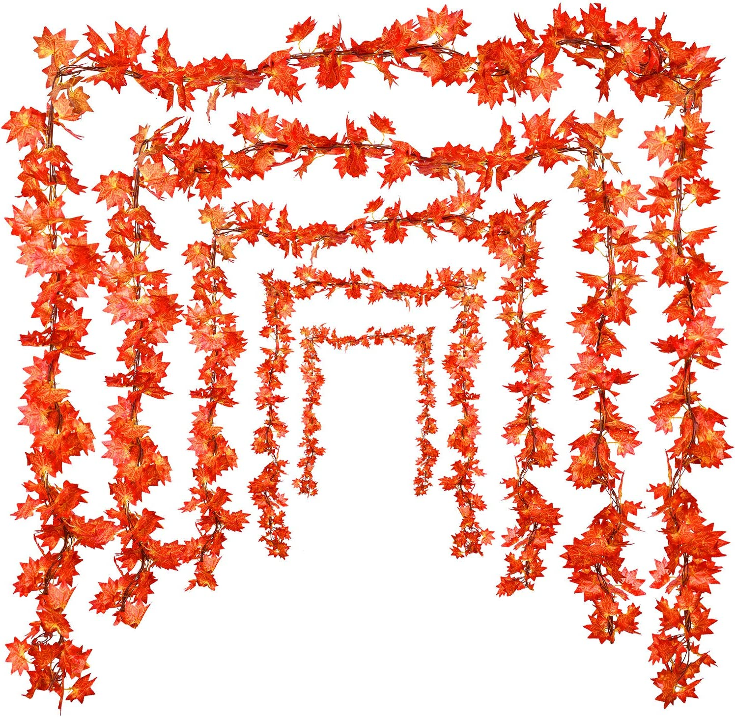WILLBOND 5 Pieces Artificial Autumn Maple Leaf Garland Hanging Plant Decoration for Home Garden Doorway Fireplace Thanksgiving Wedding Party Decoration