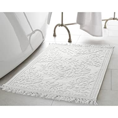 Jean Pierre New York Ricardo Cotton Fringe 17x24/21x34 in. 2-Piece Bath Rug Set, White