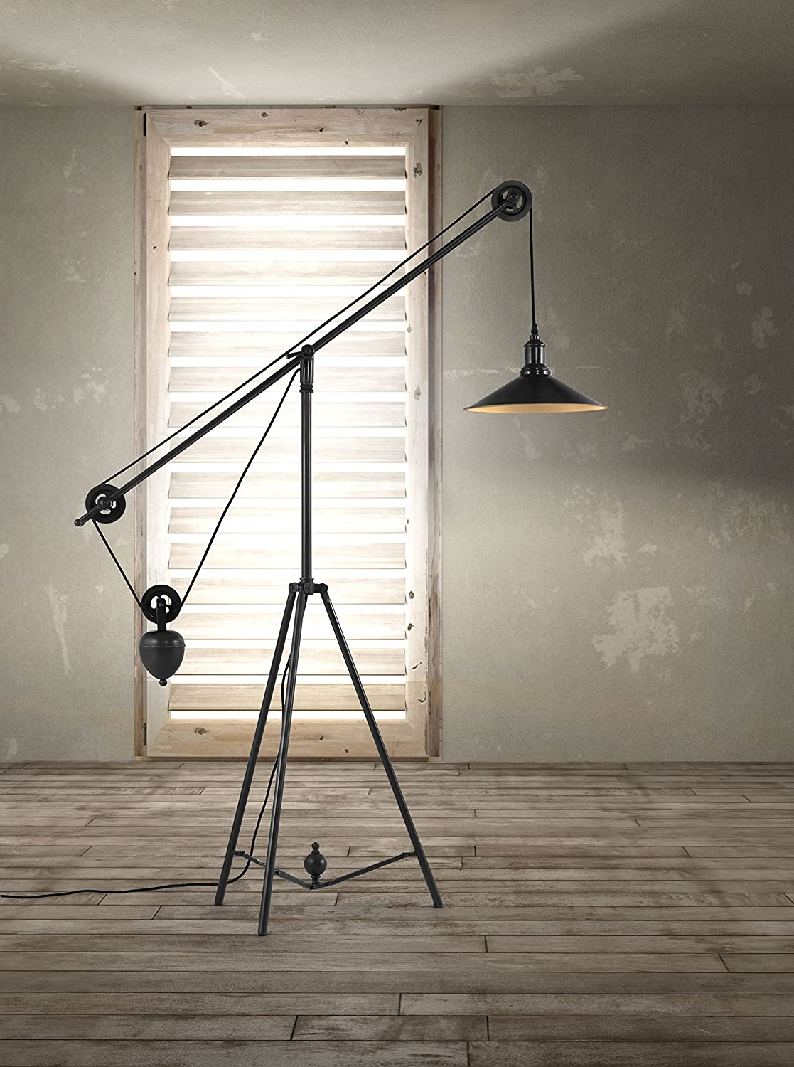 Zuo Modern 98235 Jasper Floor Lamp, Antique Black Gold   Pulley Floor Lamp    Amazon.com