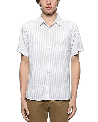 BYLUNTA Men's 100% Cotton Pinstripe Short Sleeve Summer Casual ...
