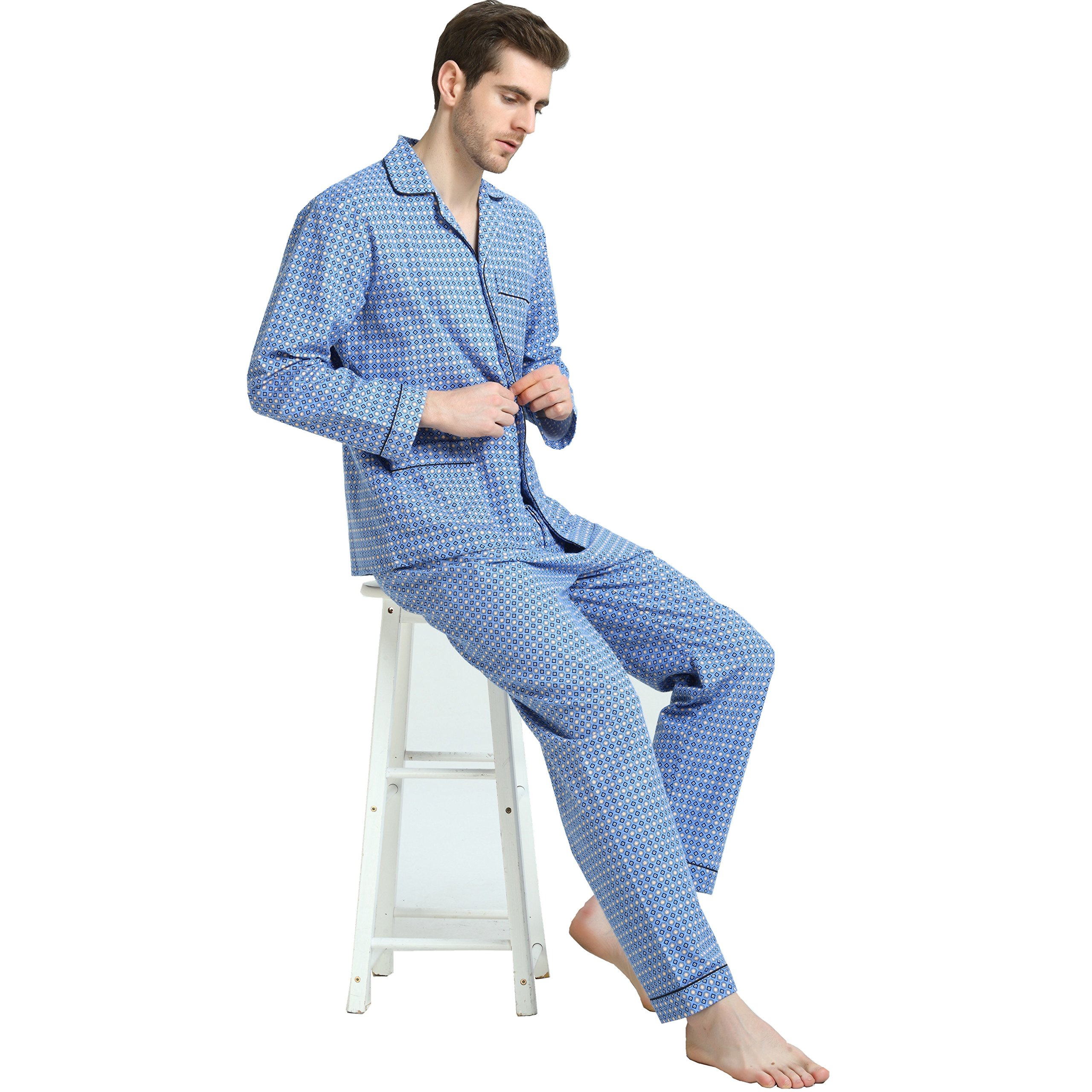 Cotton Sleepwear/Loungewear Sets for Men,100% Fleece Warm Pj Top and Bottom by GLOBAL (Image #7)