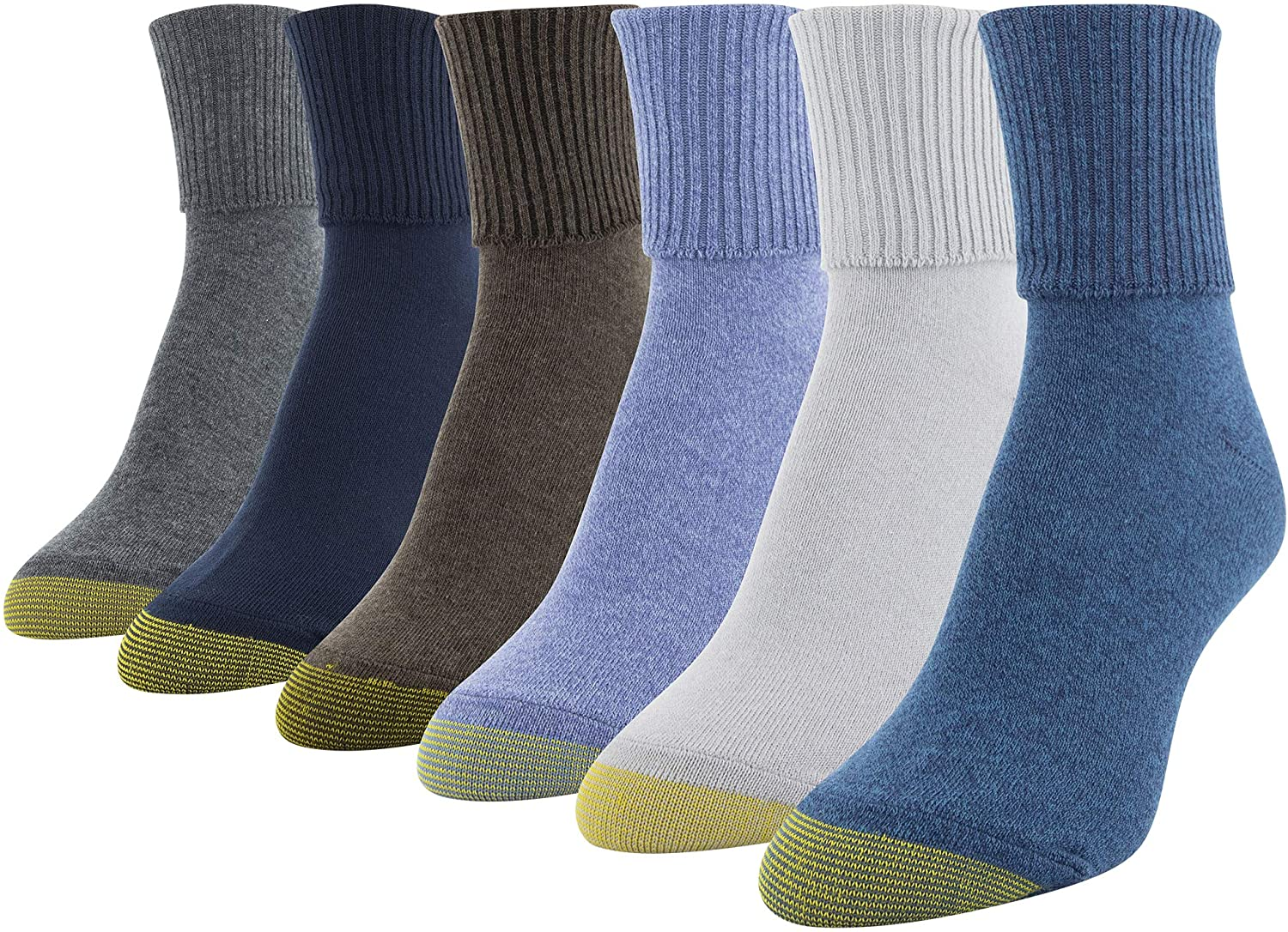 Gold Toe Womens 6 Pack Turn Cuff Socks Black 9-11 Outdoor Casual Wear Shoes New