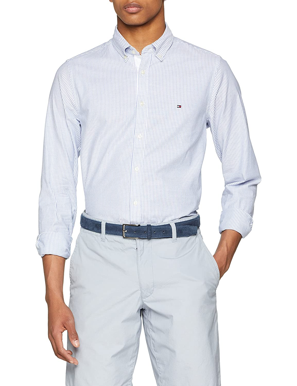 TALLA S. Tommy Hilfiger Core Stretch Slim Stripe Shirt Camisa para Hombre
