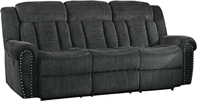 Homelegance Nutmeg Upholstered Double Reclining Sofa, Charcoal Gray