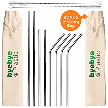Juego de 8 pajitas de acero inoxidable reutilizables con 2 cepillos de limpieza y 2 bolsas