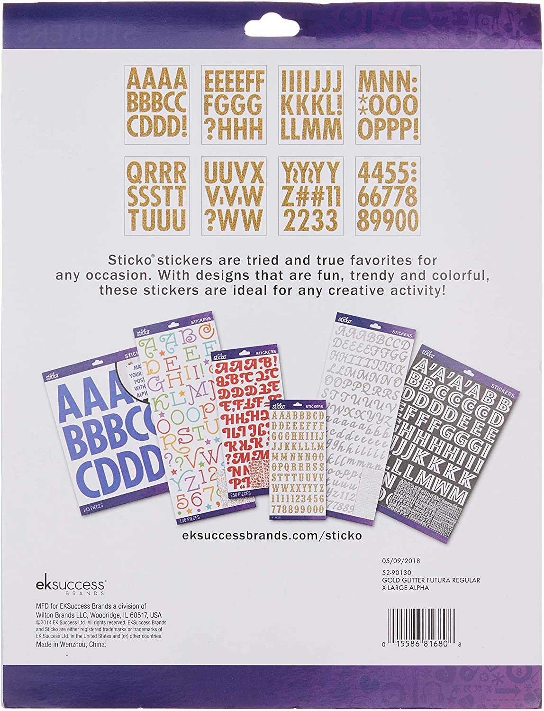 Alphabet Stickers 0.25 x 8.25 x 10.75 inches Regular X-Large Gold Glitter Futura