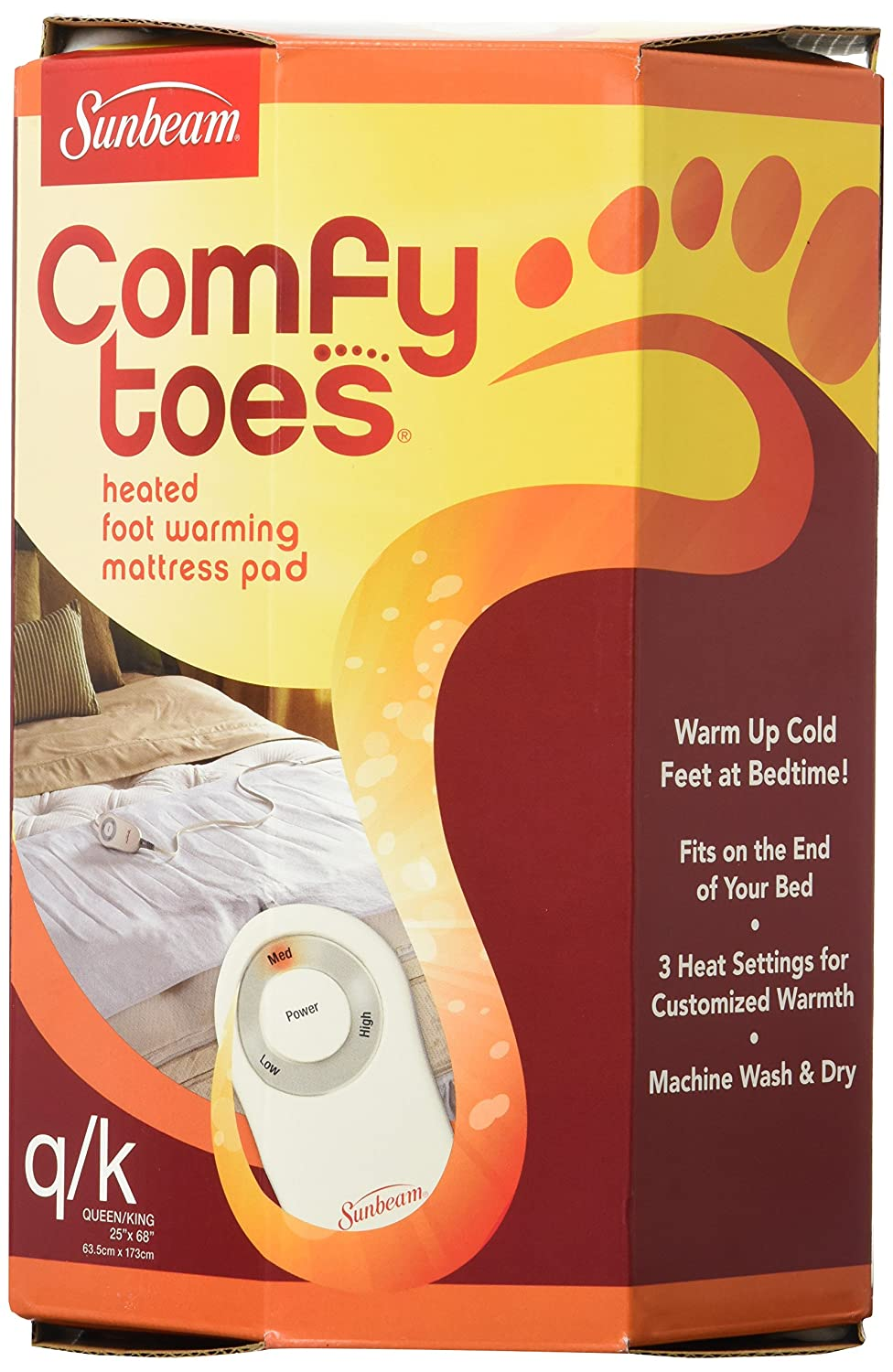 Amazon.com: Sunbeam Heated Comfy Toes Foot Warming Pad, Queen/King Size:  Home & Kitchen