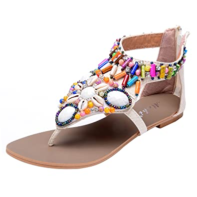 bd5a2e1bfc880 Odema Summer Bohemian Beaded Flat Womens Beach Thong Sandals