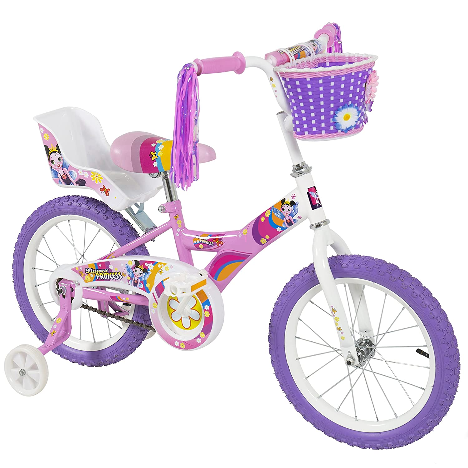 BCP 16 Girl's Flower Princess Bike W/ Training Wheels & Basket Kid's Bicycles by Best Choice Products B01IJGFUZQ