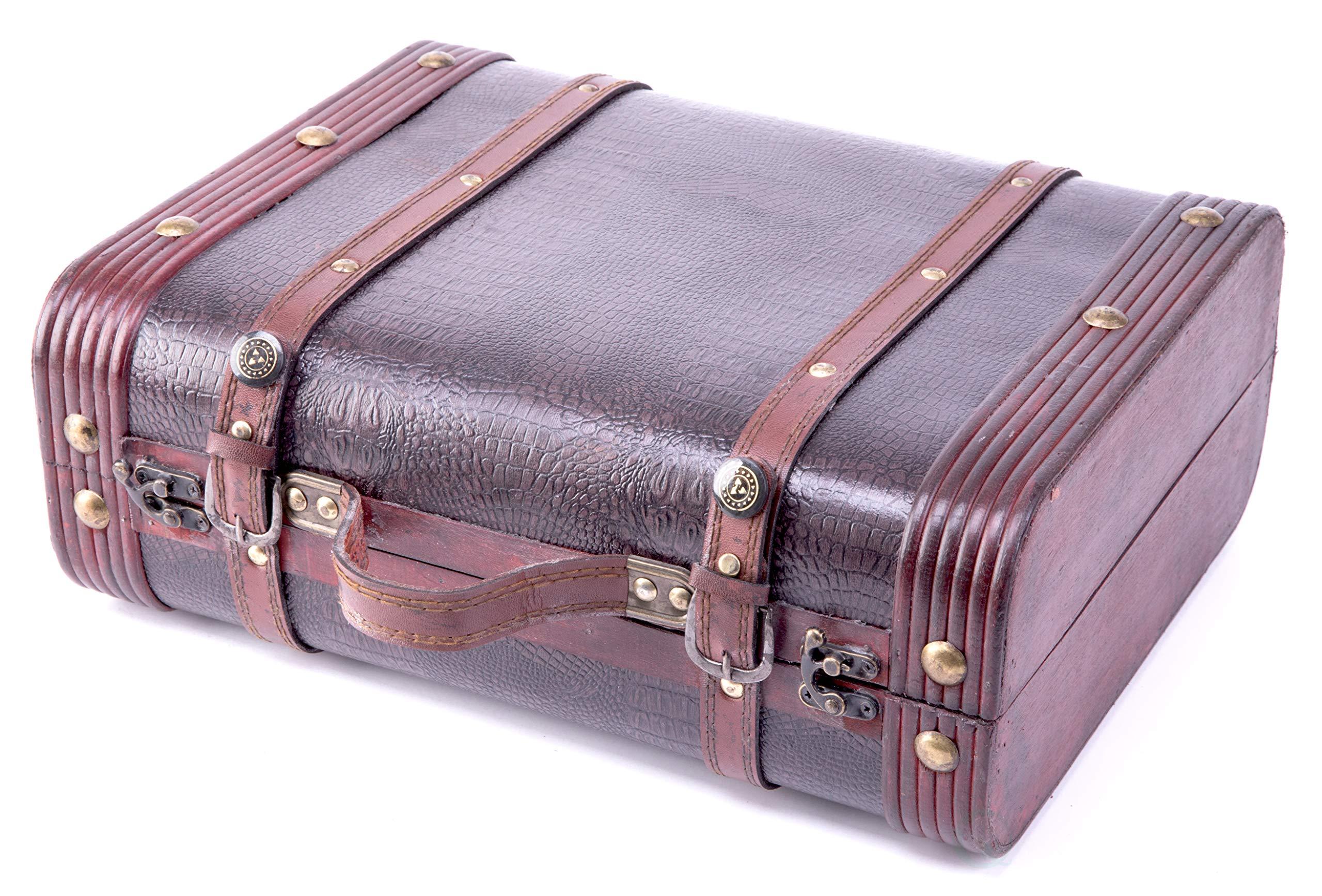 Vintiquewise(TM) Decorative Wooden Leather Suitcase by Vintiquewise