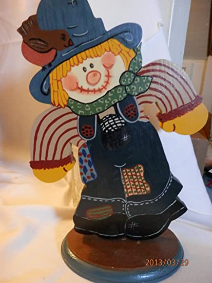 Amazoncom Handmade Wooden Happy Scarecrow Decoration Wood