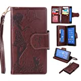 Sony Xperia Z3 Case Leather [Cash and 9 Card Slots], Cozy Hut Elegant Woman and cat Patterned Embossing PU Leather Stand Function Protective Cases Covers with Card Slot Holder Wallet Book Design Fordable Strap Case for Sony Xperia Z3 5.2 Inch - brown
