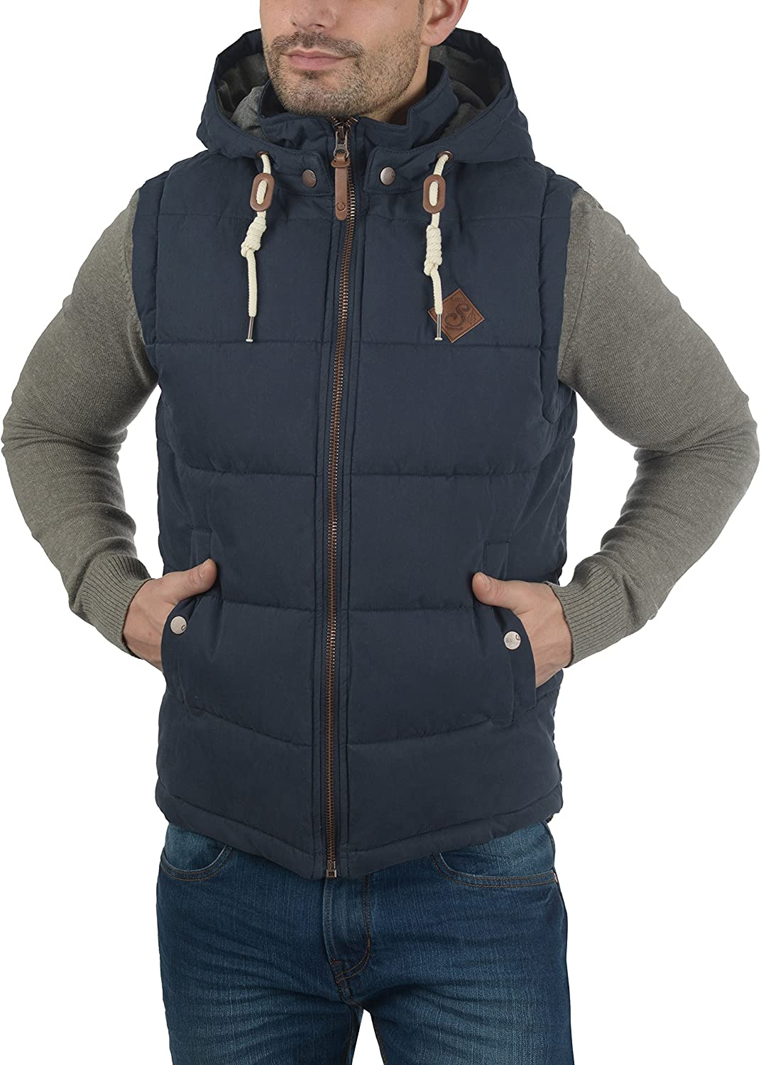 Solid Dry Men's Quilted Gilet Vest Body Warmer With Hood Insignia Blue