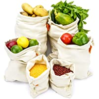 Cotton Reusable Grocery Produce Bags 6 Pack,Washable Premium Eco Friendly Bags with Drawstring and Zero Waste,Canvas Muslin,Vegetable,Toys & More,4 Sizes