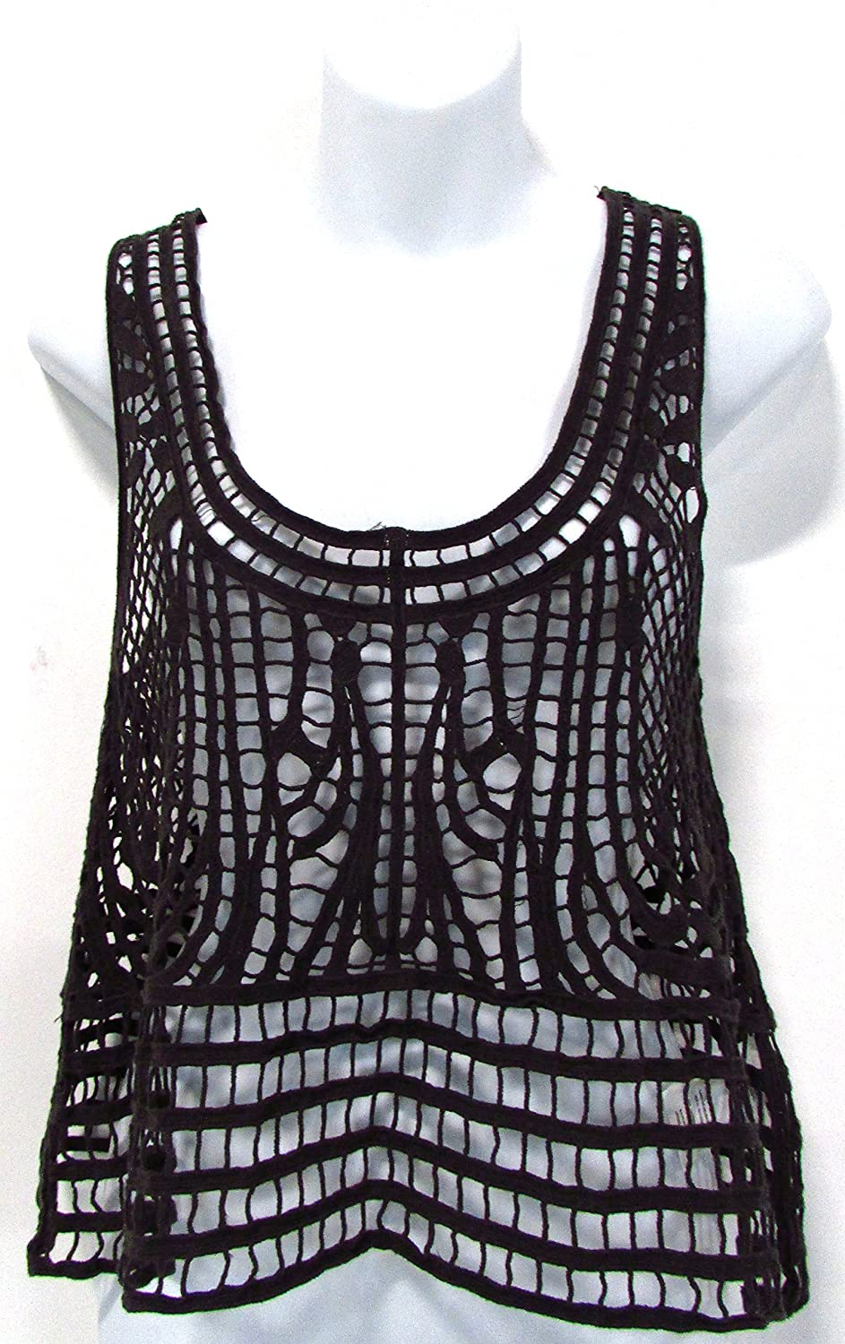 Coco + Jameson Primitive Crocheted Tank Top Tar Gray Size Medium