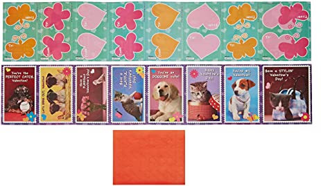 Amazon Com Paper Magic Puppies And Kittens Valentine Exchange Cards