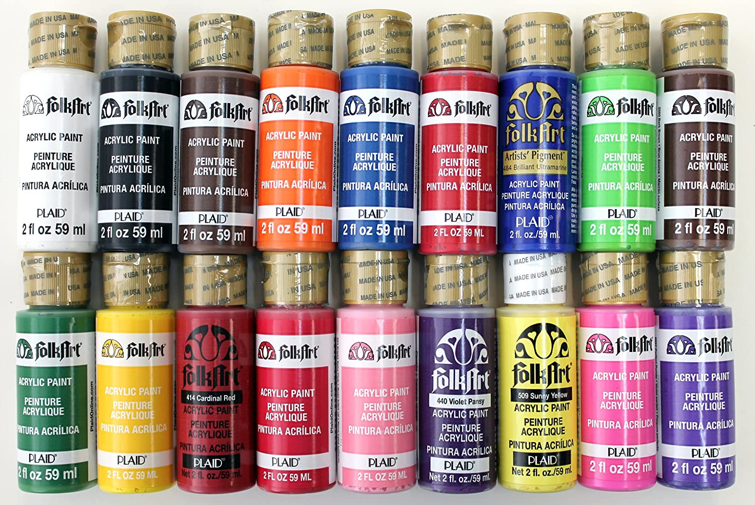 Folk art acrylic paint color chart - Amazon Com Folkart Acrylic Paint In Assorted Colors 2 Ounce Promofai Best Selling Colors I 18 Pack