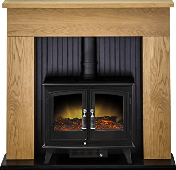 Adam Innsbruck Stove Suite In Oak With Woodhouse Electric Stove In